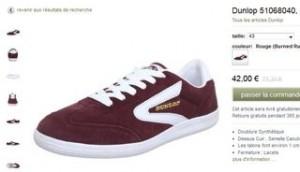 Baskets basses Dunlop rouge à moins de 30 euros