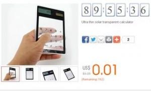 Calculatrice solaire transparente (port inclus)