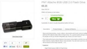 6,25 euros clé USB 8Go PNY (port inclus)