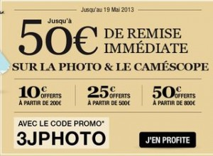 Code promo appareil photo et camescope