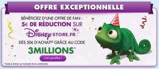 Disney Store : 5 euros de réductions dès 50 euros d'achats