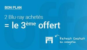 FNAC : 2 Blu-ray achetés = 1 gratuit