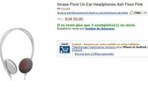 Pas cher Incase Pivot On Ear Headphones Ash Fluro Pink