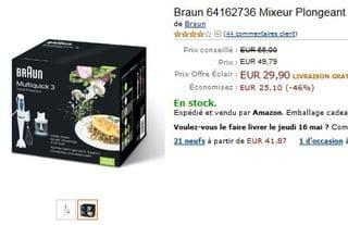 Moins de 30 euros Mixeur Plongeant Multiquick Braun