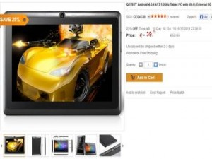 "Moins de 40 euros tablette tactile 7"" Android 4.0"