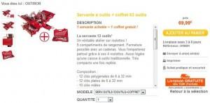 Moins de 70 euros la servante 53 outils + coffret 63 outils gratuits (livraison gratuite)