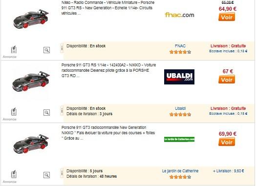 Nikko Porsche 911 1/14ème moins chère