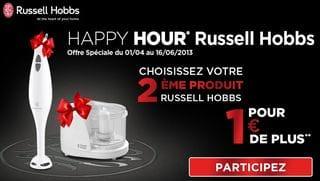 1 produit Russell Hobbs acheté = 1 mixeur ou mini-hachoir pour 1 euro