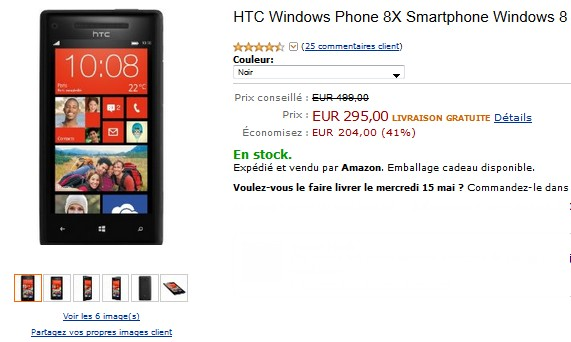 vente flash htc windows phone 8x 295 euros sans abonnement port inclus. Black Bedroom Furniture Sets. Home Design Ideas