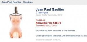 PROMO Eau de Toilette J-P Gaultier Classique 50ml 38 euros