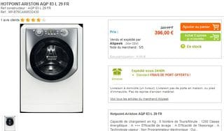 promo lave linge hotpoint de ariston a 396 euros port. Black Bedroom Furniture Sets. Home Design Ideas