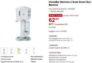 Machine à soda Smart Duo Homebar 62,93 euros
