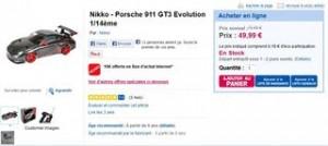 Porsche 911 radiocommandée Nikko 1/14ème à moins 50 euros (livraison gratuite)