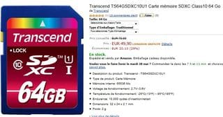 VENTE FLASH CARTE SDXC 64GO TRANSCEND