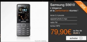 Vente flash Samsung S5610 sans engagement