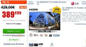 Vente flash Smart TV plasma 3D 106 cm LG