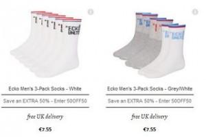 Voir le lot de chaussettes Ecko a moins de 4 euros