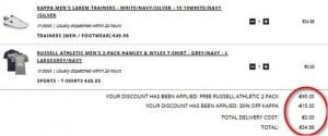Baskets Kappa + 2 T-shirts Russell pour moins de 35 euros (livraison gratuite)