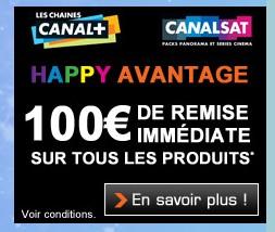 1 Abonnement Canal+ ou CanalSat = 50 euros de réductions Boulanger