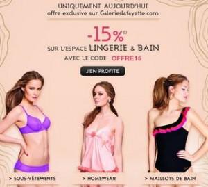 Galeries Lafayette : moins 15% sur toute la Lingerie et Maillot de bain
