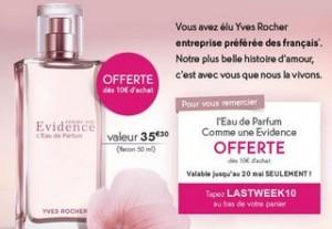 Eau de parfum Yves Rocher gratuite dès 10 euros d'achats (valeur 35€)