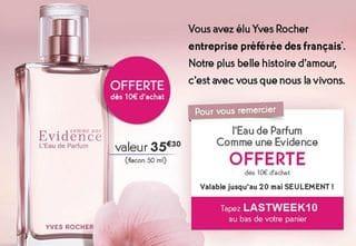 Eau De Parfum Yves Rocher Gratuite Dès 10 Euros Dachats Valeur 35