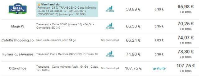 comparatif prix carte memoire SDXC