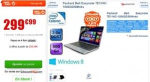 299 euros ordi portable packard bell easynote 15 6 39 39 windows 8. Black Bedroom Furniture Sets. Home Design Ideas