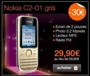 vente flash Orange telephone Nokia C2-01 a moins de 30 euros