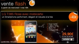 moins de 30 euros téléphone LG T385 Rose sans engagement