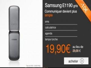 Vente flash téléphone Samsung E1190 à moins de 20 euros