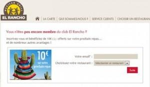 10 euros de reduction sur votre repas El Rancho