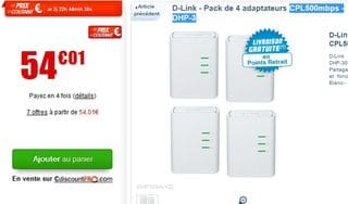 54 euros les 4 adaptateurs CPL 500 mbps D-Link (port inclus)