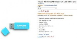 30 euros la clé USB 64 Go 3.0 (port inclus)
