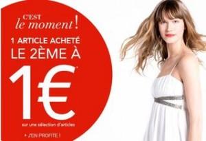 Camaïeu : 1 article acheté = le second à 1 euros