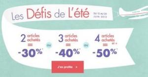 Defi Mode : moins 50% dès 4 articles achetés  (2 articles achetés = -30%, 3 articles = -40%)