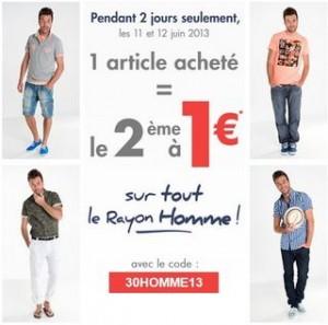 Offre Gémo Homme second article à 1 euros