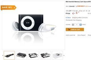 Moins de 3,2 euros le Mini lecteur MP3