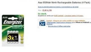 Moins de 7 euros les 4 Piles rechargeable AAA Energizer 850 Mah