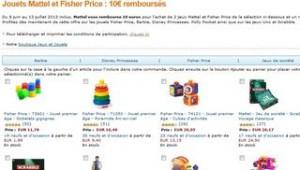 10 euros de remboursés dès 30 euros achat Ficher Price / Mattel
