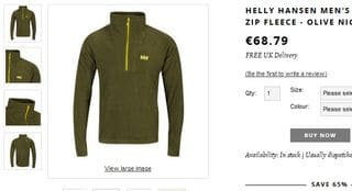 PROMO 24 euros la veste polaire Helly Hansen port inclus