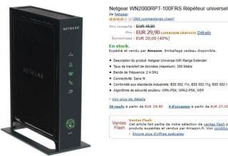 29,90 euros le Répéteur Wifi 4 ports réseau Netgear