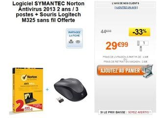 Pack Norton Antivirus 2013 2 ans-3 postes et Souris Logitech M325 sans fil gratuite