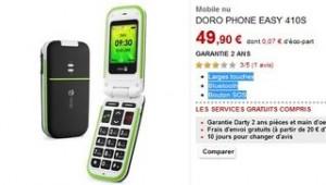 Moins 50 euros le Téléphone Doro Easy 410S (Larges touches, Bluetooth, Bouton SOS)