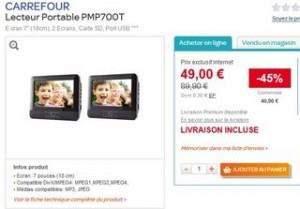 Promo lecteur DVD portable 2 ecrans a moins de 50 euros