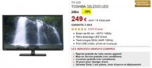 249€ TV Toshiba 80 cm Full HD (219€ après ODR) au lieu de plus de 300€