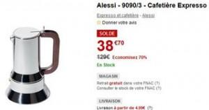 38€ Cafetière Expresso Alessi (au lieu de plus de 100 euros) - SOLDES