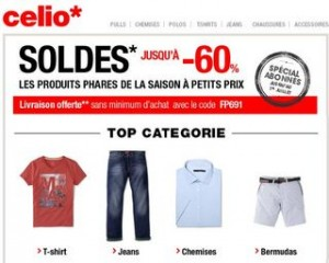 Celio ! Soldes + livraison gratuite sans minimum (code promo)