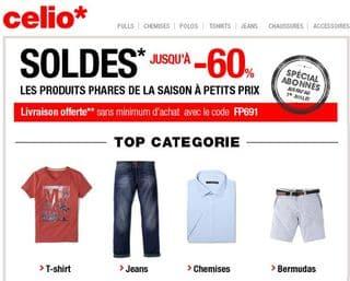 Celio soldes livraison gratuite sans minimum code promo - Code promo livraison gratuite tati ...