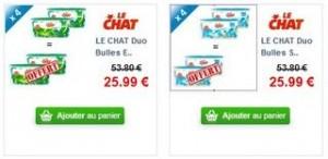 Lessive 25,99 euros 2+2 gratuits Duo Bulles Expert x36 Le Chat (livraison gratuite)